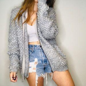 Lucky Brand gray shag oversized knit jacket